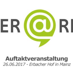 Logo des Projekts OER@RLP mit der Information, dass die Auftaktveranstaltung am 26. Juni 2017 im Erbacher Hof in Mainz stattfindet.