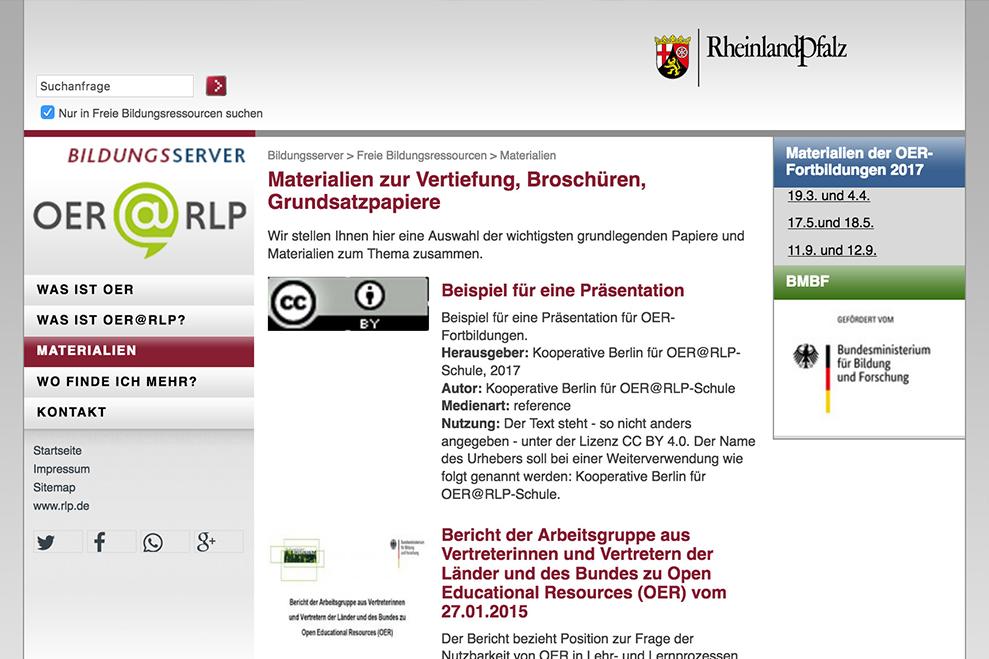 Screenshot der OER-Materialseite des Pädagogischen Landesinstituts RLP