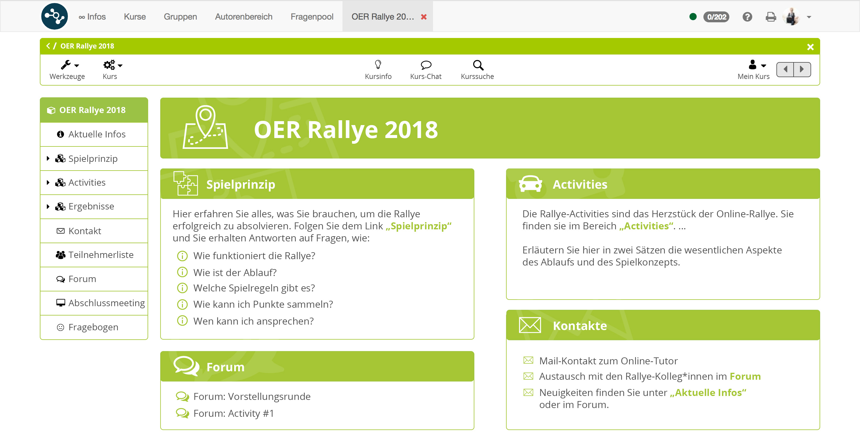 Screenshot der OER Rallye.